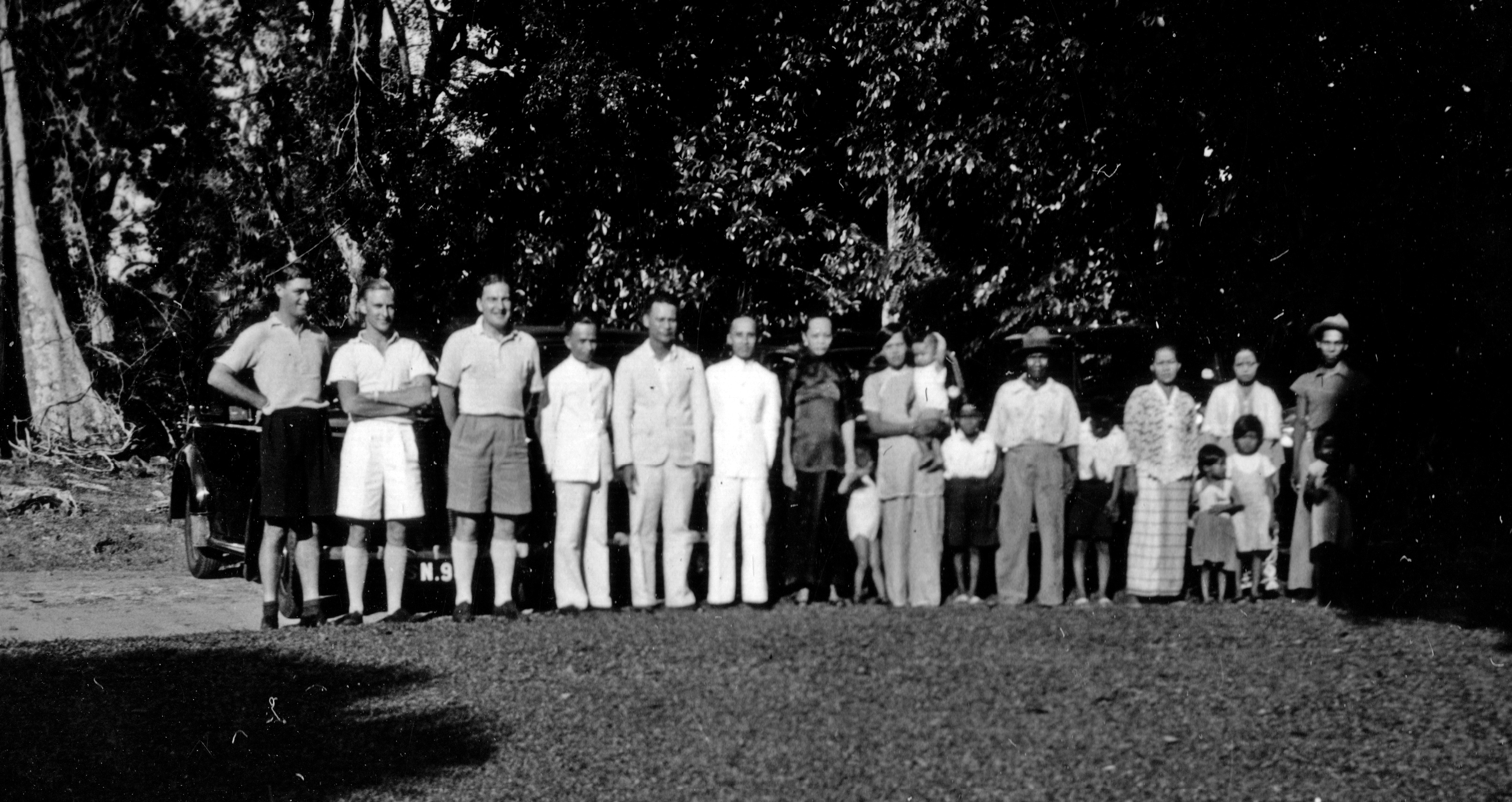 1939 The Boustead Mess in Singapore. Boustead European 'directors' to the left and mess staff to the right.