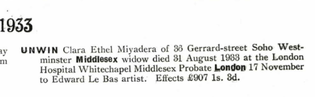 Clara Ethel Miyadera Schwabe unwin Probate