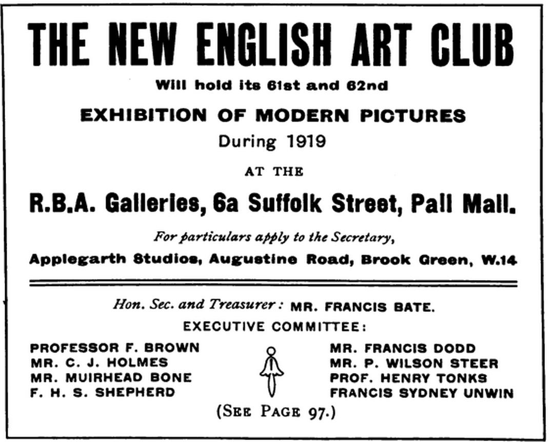 Francis Sydney Unwin Gallery Ad