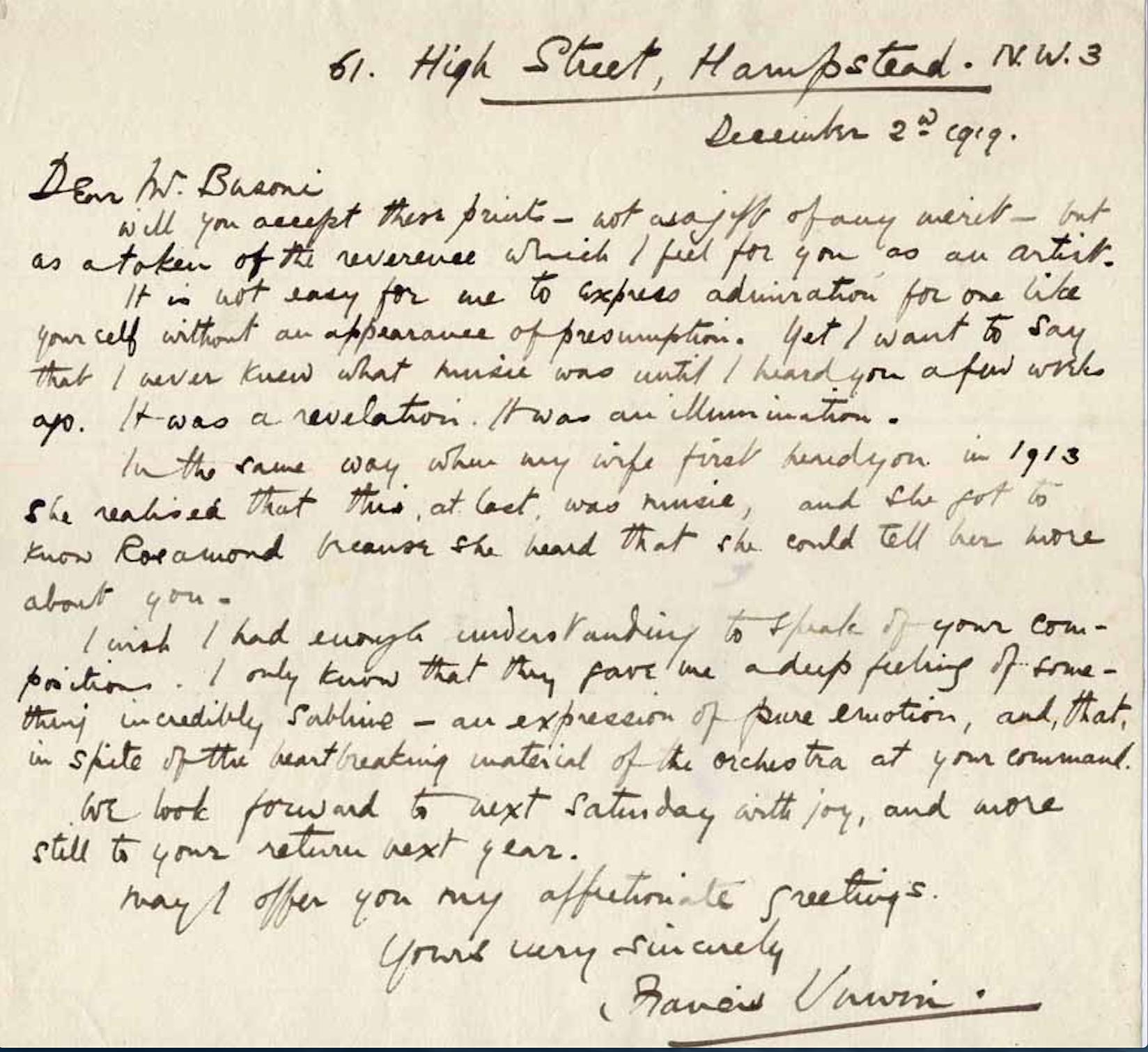 Francis Unwin Letter
