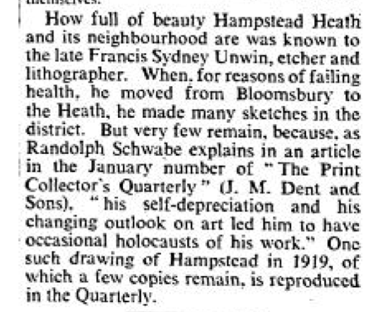 Unwin Mention The Times 29 December 1933