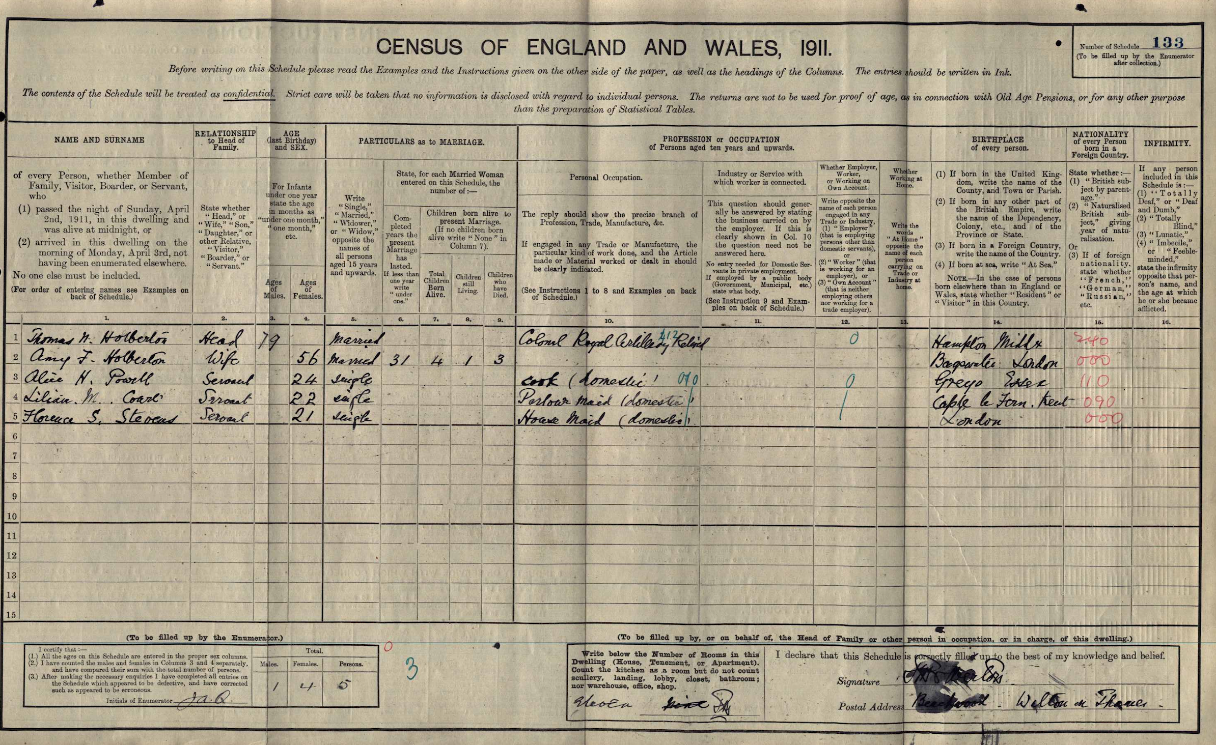 Thomas Nelson Holberton on 1911 census