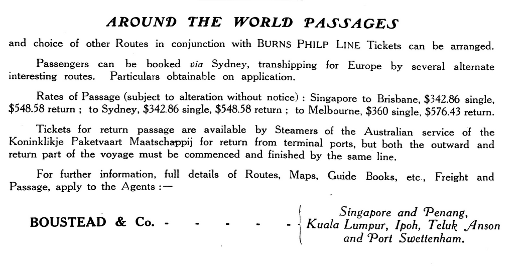 Travel Pamphlet with Boustead ad 1921