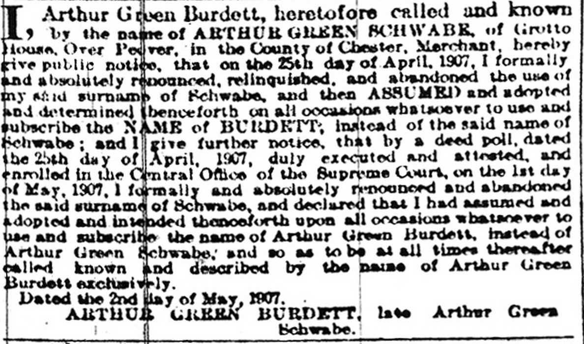 Arthur Green Schwabe Burdett Name Chane