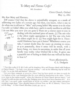 Carroll Letter to Crofts 13 May 1882