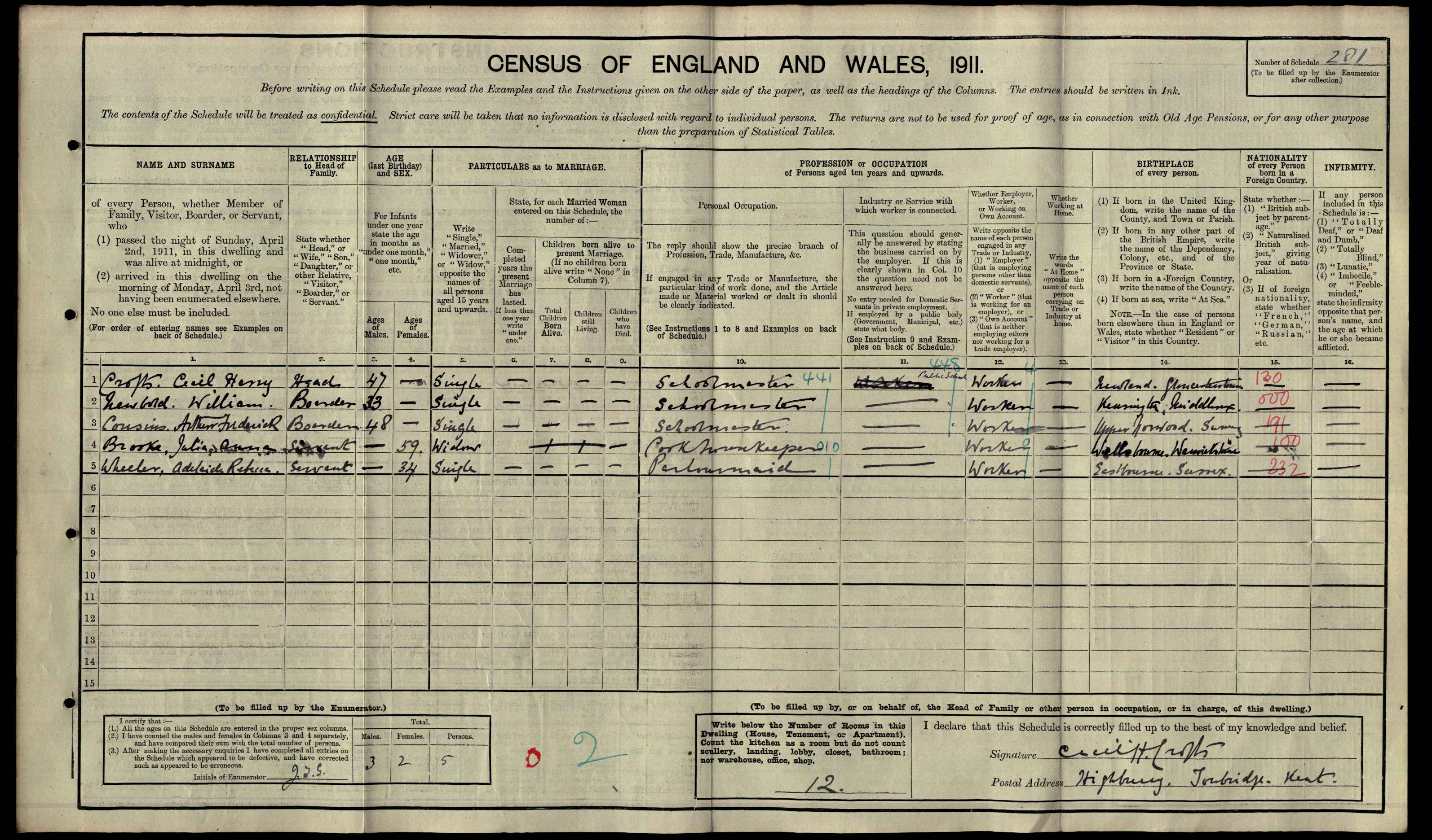 Harry Cecil Crofts on the 1911 census