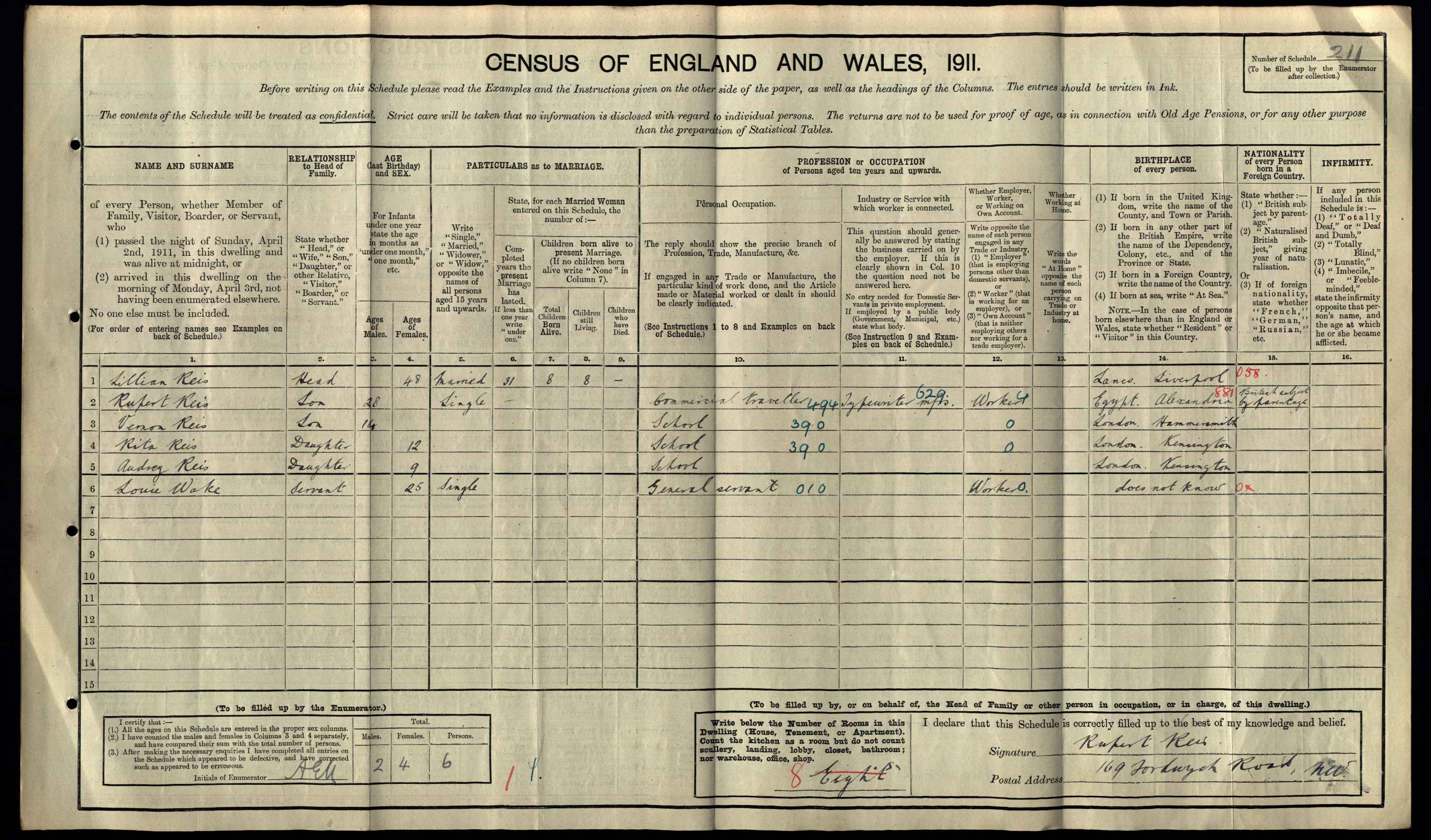 Lillian Reis on 1911 Census