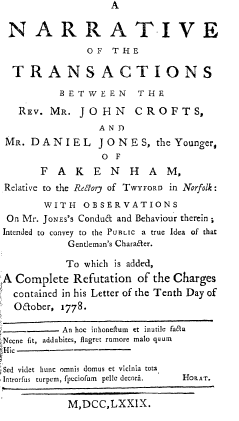 Title page of John Crofts Book