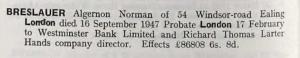 Norman Algernon Bresaluer Probate
