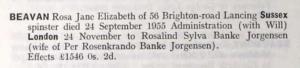 Rosa Jane Elizabeth Bevan Probate