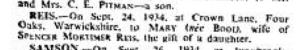 Thursday 27 Sep 1934 Spenser Reis Engagement