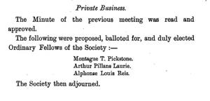 Alphonse Louis Reis Elected