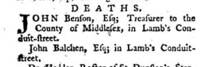 Death of John Balchen 1785