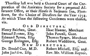 Henry Balchen May 11 1754