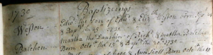 Martha Balchen Baptism 1730