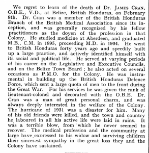 James Cran MD Obit