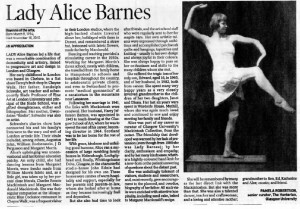 Lady Alice Barnes Obit