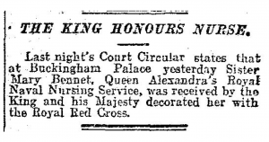 Mary Bennet Honoured by King May 6 1915