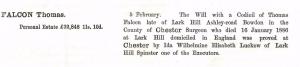 Probate of Thomas Falcon