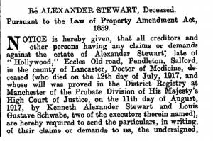 Alexander Stewart Probate Annoucement 1917