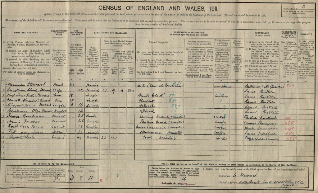 Alexander Stewart on 1911 census