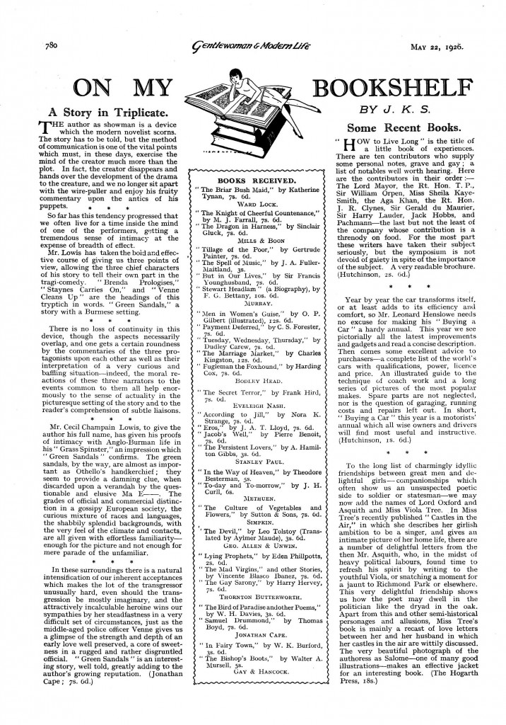 CC Lowis Review of Green Sandals 22 May 1926_Page_1