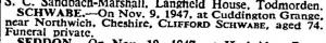 Clifford Schwabe death notice  Nov 12 1947
