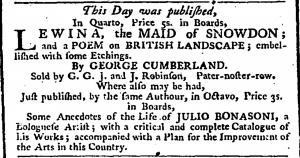 George Cumberland Publication Ad February 23 1793