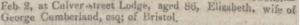 George Cumberland death of wife February 09 1837
