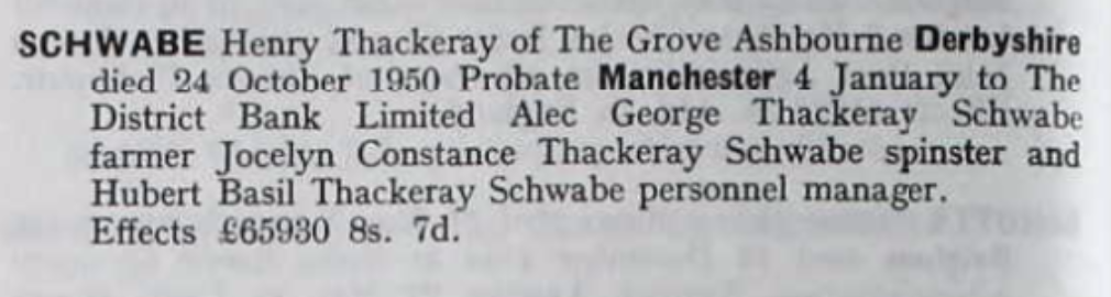 Henry Thackeray Schwabe Probate