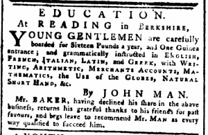 John Man Advertisement March 22 1779