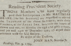 John Man Secretary November 16 1795