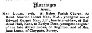 Lionel Man Marriage Announcement in The Friend Sept 14 1906