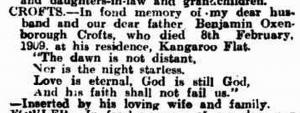 Benjamin Oxenborough Crofts Memoriam Australian Newspaper 1914