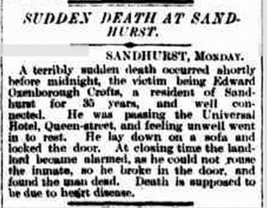 Death of Edward Oxenborough Crofts 27 January 1891