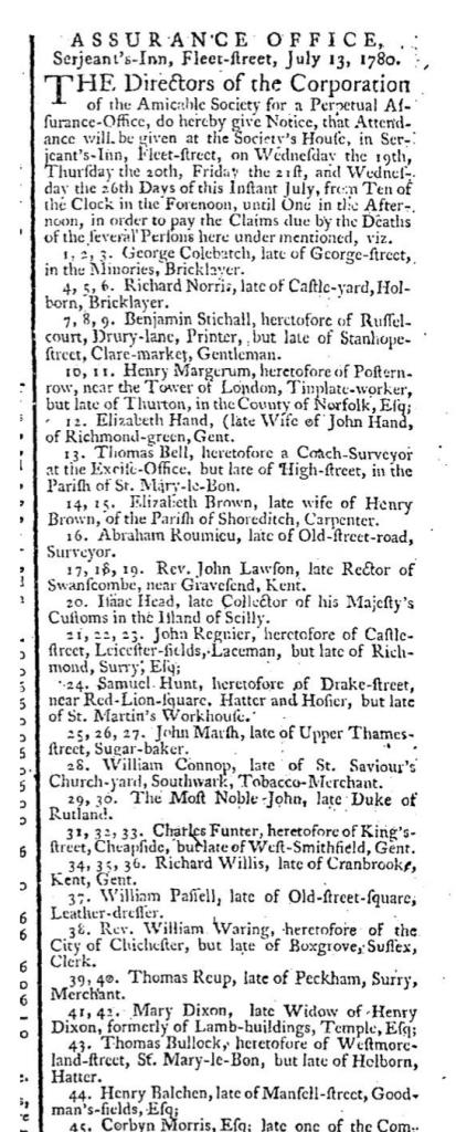 Henry Balchen July 17 1780