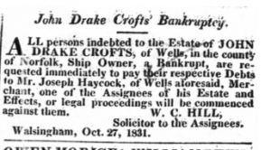 John Drake  Croft Bankrupt 29 Oct 1831