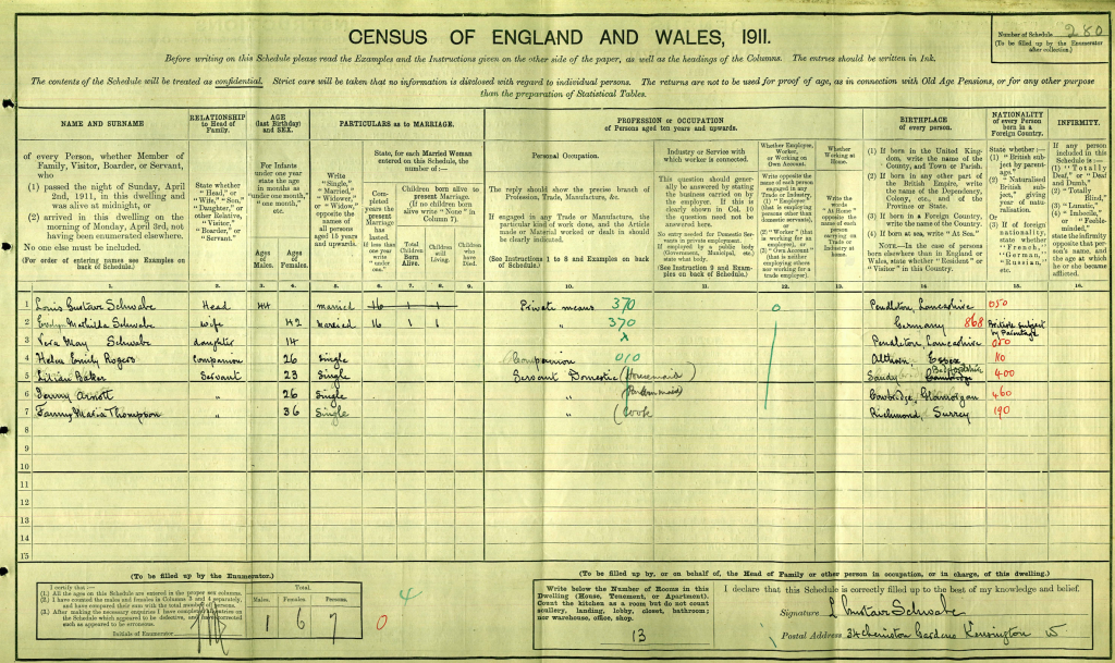 Louis Gustave Schwabe 1911 Census