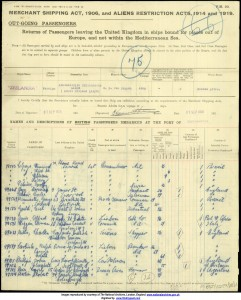 Cyril Herbert Stafford Reis on Passenger List