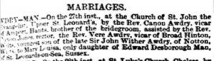 Mary Louisa Man Marriage October 30 1891