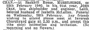 John Cran Shipbuilder Death Notice
