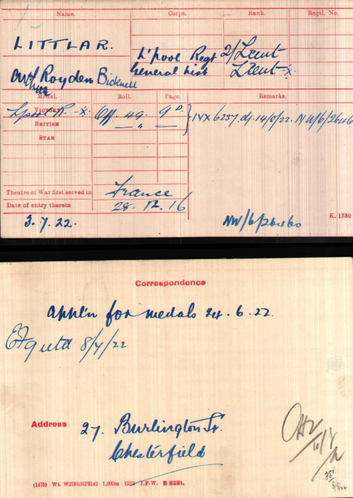 Arthur Royden Bicknell Littlar Medal Award WWI