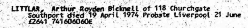 Arthur Royden Bicknell Littlar Probate