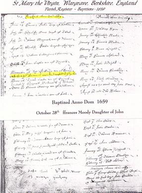 Frances Moody's baptism