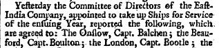 john balchen appointed to the onslow August 29 1734