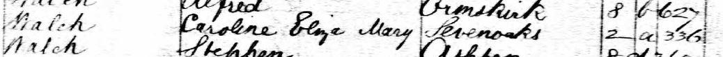 Caroline Eliza Mary Walch's Death Registry