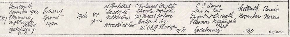 Edward Garnet Man's Death Certificate