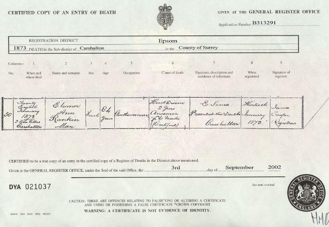Eleanor Ann Rankin Man's Death Certificate