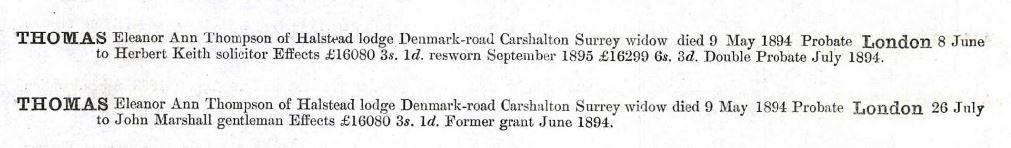 Probate Record for Eleanor Ann Thompson (Man) Thomas