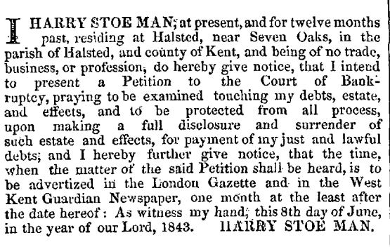 Harry Man's Bankruptcy Announcement in the London Gazette